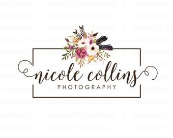 Flower logo photography logo premade logo design floral logo photographer logo boutique logo small business logo