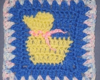 Duckling square - rugalugs crochet pattern