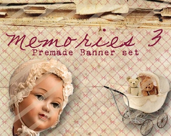 """Banner Set - Shop banner set - Premade Banner Set - Graphic Banners - Facebook Cover - Avatars - Bisiness Card - """"Memories 3"""""""