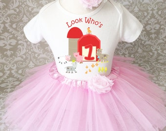 Birthday Farm Barn Pig Cow Animals Pink Red 1 first 1st Shirt & Tutu Set Girl Outfit Party Dress 6 9 12 18  month Headband Custom Size