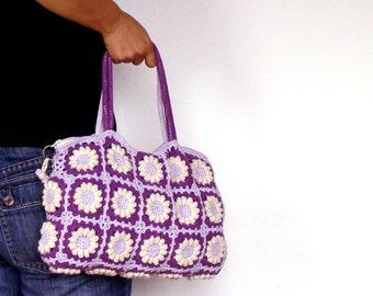 Spring summer purse, lilac lavender purple crochet handbag, floral spring bag, everyday bag, crochet purse, crochet bag, floral bag crochet