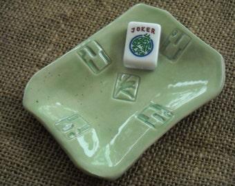 Mahjong Soap Dish -  Green Mahjong Plate - Oriental Dish - Sushi Dish - Mahjong Pottery