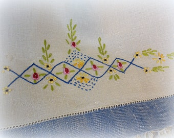 vintage embroidered linen tea towel hand embroidery on fine linen contrast hems natural with blue red pink yellow olive