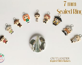 Outlander inspired stitch markers -9 pcs with or without Fraser Motto Bracelet