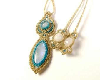 Rainbow Moonstone Macrame Necklace,  Gemstone Necklace, Moonstone Pendant,