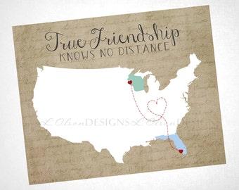 """Friendship Wall Art - """"True Friendship Knows No Distance"""" - Digital Item 8x10"""