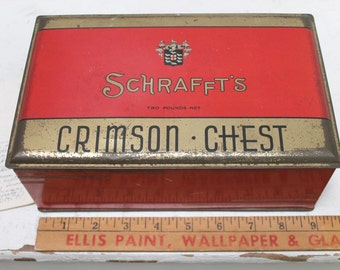 Vintage Schrafft's Tin Candy Box - Crimson Chest, Vintage Red Tin Box, Vintage Hinged Tin Box