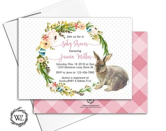 Girl baby shower invitation, rabbit baby shower invites with dusty rose pink gingham, floral wreath and polka dots - PRINTED - WLP00721
