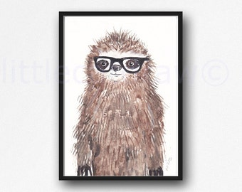 Geek Sloth Wall Art Print Watercolor Painting Print  Bedroom Wall Decor Sloth Lover Gift Sloth Wearing Glasses Home Decor Nerd Sloth