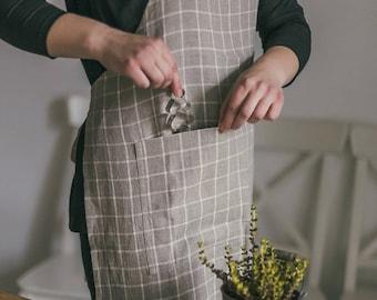 Linen kitchen apron - woman apron - gray apron - linen apron - chef apron - full apron - apron with pockets - long apron - washed linen