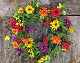 Summer Zinnia Mix Wreath, Door Decor, Mixed Foliage, Artificial