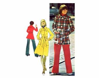 1970s Misses Coat Pants Front Button Long Coat Simplicity 5257 Vintage Sewing Pattern Size 12 Bust 34 UNCUT
