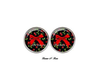 Stud Earrings * cherry bow * silver tone cabochon