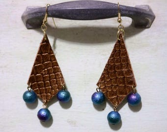 Leather Insprired Gold Snake Skin with Blue Iridescent Dangles