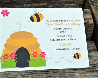 Bumble Bee Personalized Party Invitation