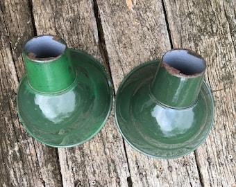 Green Enamel Light Shade - Enamel Angled Shade - Warehouse - Gas Service Station - Farm - Green Industrial Light - Petroliana - Sil Va King