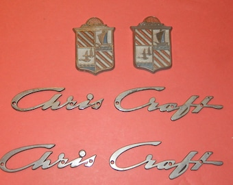 2 Sets Vintage Original Chris Craft Name Plate Emblem and Shields Wood Boat