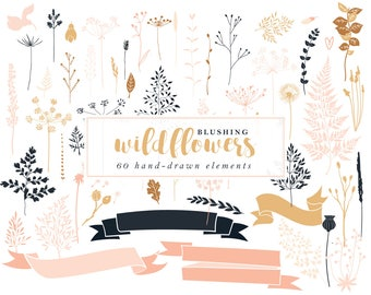 Floral wedding clip art - hand drawn floral clipart wildflower clip art pink shabby romantic woodland wild flowers bridal DIY leaves vector