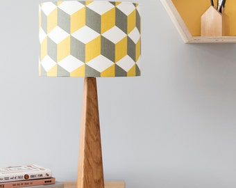 Geometric cube lamp and shade