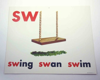 Vintage 1960s Childrens Giant Sized School Flash Card with Picture and Word for Swing