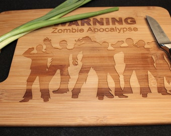 Warning Zombie Apocalypse!  Bamboo Cutting Board 9 x 13 Dead Zombies Walking into Apocalypse