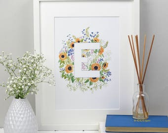 E-G Floral Monogram Print Letter | Initial Alphabet Art, Floral Monogram Print, Watercolour Painting Archival Print, Wall Decor