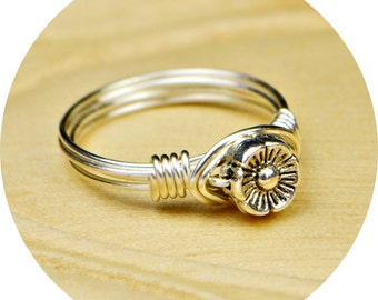 Sale! Flower Wrapped Ring-Sterling Silver, Yellow or Rose Gold Filled Wire/Tiny Metal Flower Blossom Bead-Size 4 5 6 7 8 9 10 11 12 13 14