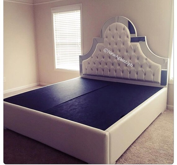 White Faux Leather King Size Tufted Upholstered Bed with