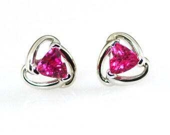 Pink Tourmaline 14K Solid White Gold Stud Earrings 5mm Trillion Shape