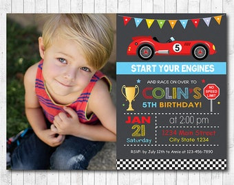 Race Car Birthday Invitation, Car Invite, Race Invitation, Racing Car Invite, vintage car race, photo invitation, printable