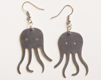 Fork earrings octopus shape, FREE SHIPPING. Upcycled fork jewelry. Eco friendly earrings. Upcycling. Sustainable.