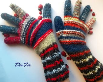 Women L With Fingers Wool OOAK Ready To Ship Mittens Bohemian Wrist Warmers Winter Fingered Gloves Hand Knitted Gift Striped Multicolor 87
