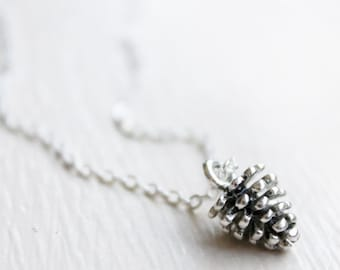 Pinecone Necklace - Pinecone Charm Woodland fall leaves trees pinecone forest Charm Necklace Pendant