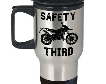 Off Road Travel Mug - Safety Third - Funny Mudding Dirtbike Motocross Gift Coffee Cup