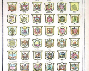 Arms of Various Nations - 1901 Antique Book Page from World Atlas - 14 x 12