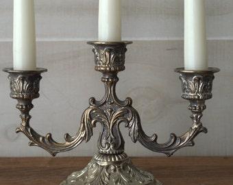 Ornate Silver Plated Candlestick, Elegant Three Arm Taper Candelabra