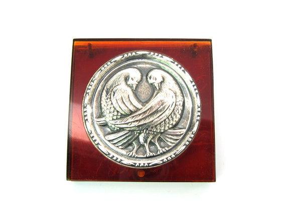 Coro Love Birds Sterling Silver Lucite Vintage Compact w Marabou Powder Puff