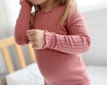 12M-7T Infant Kids Girls Modal Pajama Sleepwear Set Rib