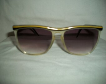 Vintage 80s Oversized Gold/Amber to Clear Sunglasses made in Italy