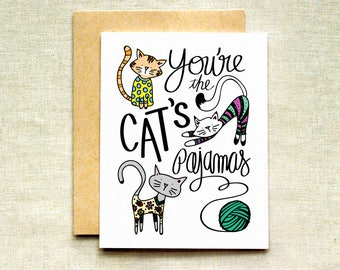 Funny Mother's Day Card, You're the Cat's Pajamas Card, Cat Lover Card, Mother's Day Card
