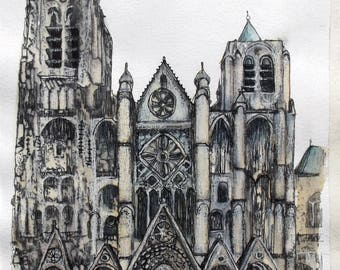 Bourges Cathedral, France, Original Mixed Media Painting