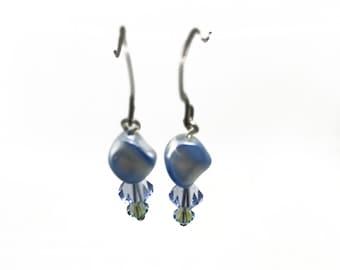 Blue Swarovski Crystal and Swarovski Pearl Earrings