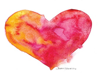 Vibrant Heart Watercolor Painting - 7 x 5 - Giclee Print
