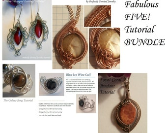 Wire Wrap TUTORIAL Bundle!  The Fabulous Five!  Wire Wrap Patterns, Earrings, Pendants, Ring and Bracelet! Learn How to Make Wire Jewelry