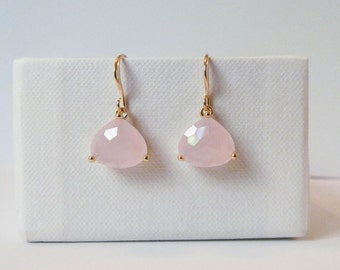 blush earrings gold, blush pink earrings, blush earrings, blush drop earrings, blush and gold earrings, bridesmaids gift, blush jewelry