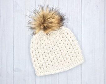 Baby Girl Hat, Slouchy Hat, Baby Girl Beanie, Baby Boy Beanie, Slouchy Baby Boy Hat, Knit Baby Girl Hat, Faux Fur PomPom Hat, Pom Pom Hat