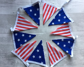 Handmade Shabby Chic Double Sided Cotton Bunting | America Independemce Day 4th July