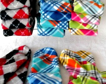 Warm Women's Socks, Ladies Soft Cozy Fleece Socks, Plaid Handmade Fleece Socks, Soft Women's Bed Socks, Senior Citizen Gift, Boot Socks