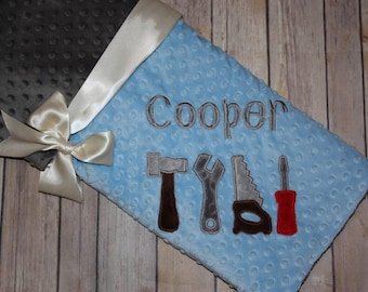 Tools- Personalized Minky Baby Blanket - Blue/ Gray Minky - Embroidered Tools