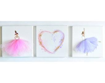 Nursery Decor, Nursery Art, Kid's Wall Decor, Pink Art, Ballerina Decor (Set of Ballerina/Heart Canvases)